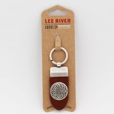 Leather Keyring with Celtic Shield on metal, handmade in Ireland