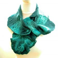 Blue and turquoise felt ruffle collar scarf, handmade in Ireland by Jayne Gillan Designs
