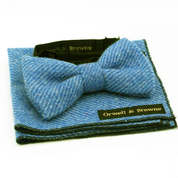 Donegal Tweed Bow Tie and Pocket Square in Cornflower Blue, handmade in Ireland by Orwell and Browne