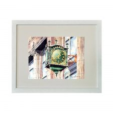 Framed limited edition print of Clerys Clock from original watercolour art by Sean Curran, Ireland