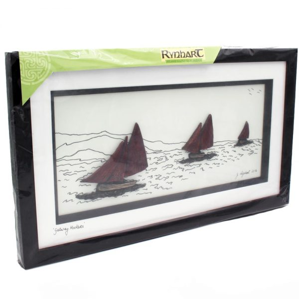 Galway Hookers Bronze Art in a dark brown frame, handmade by Rynhart, Co. Cork Ireland, option to personalise