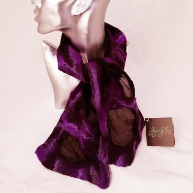 Valentia Felted Silk Neck Tie, deep plum colouring, designed and handcrafted by Jayne Gillan, Kerry Ireland