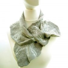 Valentia Felt Ruffle Collar Scarf, grey, handmade in Ireland by Jayne Gillan Designs, Kerry