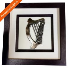 Celtic Harp Bronze Art in a frame, handmade by Rynhart, Co. Cork, option to personalise
