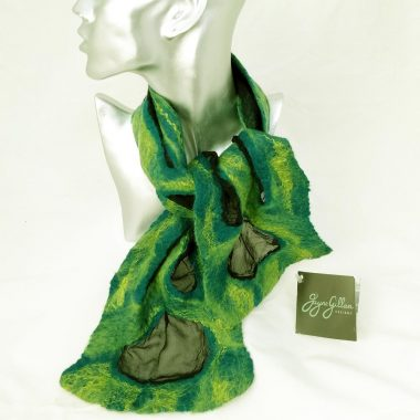 Valentia felted silk necktie in teal and green, handmade in Ireland by Jayne Gillian, Kerry