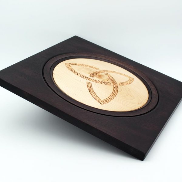 Triquetra Wooden Wall Plaque handturned from Maple with ebonised frame, made in Ireland