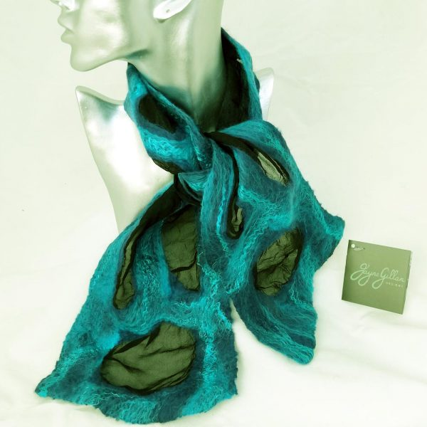 Valentia Felted Silk Necktie with blue and turquoise colours, handmade in Ireland by Jayne Gillan Designs