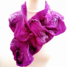 Purple felt Ruffle Collar Scarf, very stylish, made in Ireland by Jayne Gillan Designs