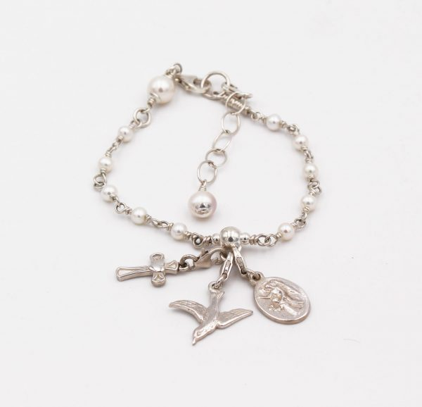 Confirmation Rosary Bracelet, sterling silver and freshwater pearls, handmade in Dublin Ireland