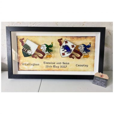 Double glass coat of arms gift in a frame, handmade in Ireland