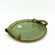 Celtic design biscuit plate, handmade by Castle Arch Pottery Ireland