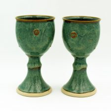 Celtic Goblets, sets of two, green colour with Celtic motif, handmade in Ireland by Castle Arch Pottery
