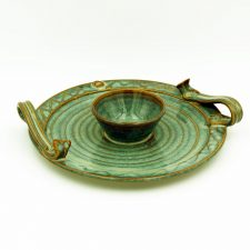 Party Plate with Celtic design, handmade in Ireland by Castle Arch Pottery, beautiful green colouring with brown running through