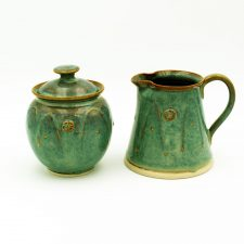 Celtic sugar bowl and milk jug, handmade Irish pottery by Castle Arch Pottery, Kilkenny