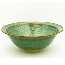 large salad bowl handmade in Ireland by Castle Arch Pottery, green colour with Celtic motif