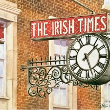 Irish Times Clock limited edition print, mounted and signed by the artist, Seán Curran