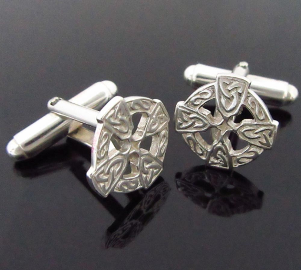 Homemade Celtic Gifts: Celtic Cross Silver Cufflinks ☘ Totally Irish Gifts