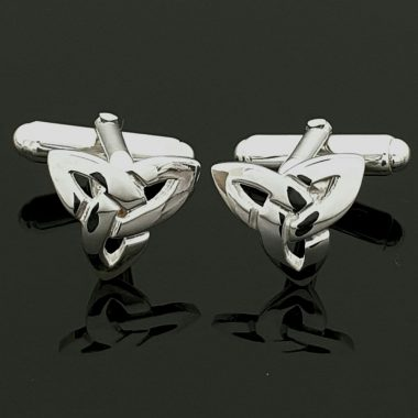 Trinity Knot silver cufflinks handmade in Ireland, Gifts for Men Irish Jewellery