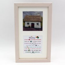 Home twin print, perfect housewarming gift, image of cottage and home poem, made in Ireland