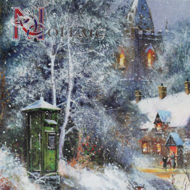 Nollaig Christmas Card with Post Box scene, made in Ireland