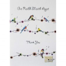 Irish Thank You Card with images of birds and flowers, Irish and English on the front, blank inside for your message