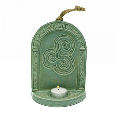 Triple Spiral Candle Wall Sconce handmade in Ireland, green-copper colour, for tea lights
