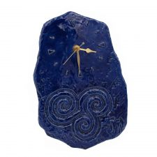Celtic Wall Clock handmade in Ireland, blue colour with Triple Spiral design