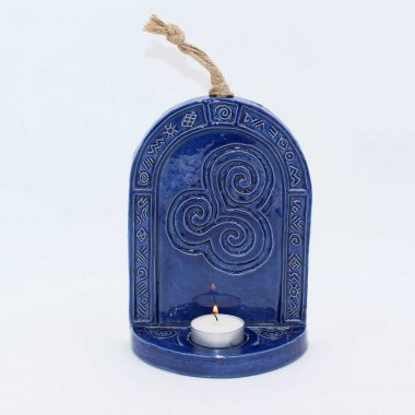 Triple Spiral Candle Wall Sconce, made in Ireland, blue in colour, hangs