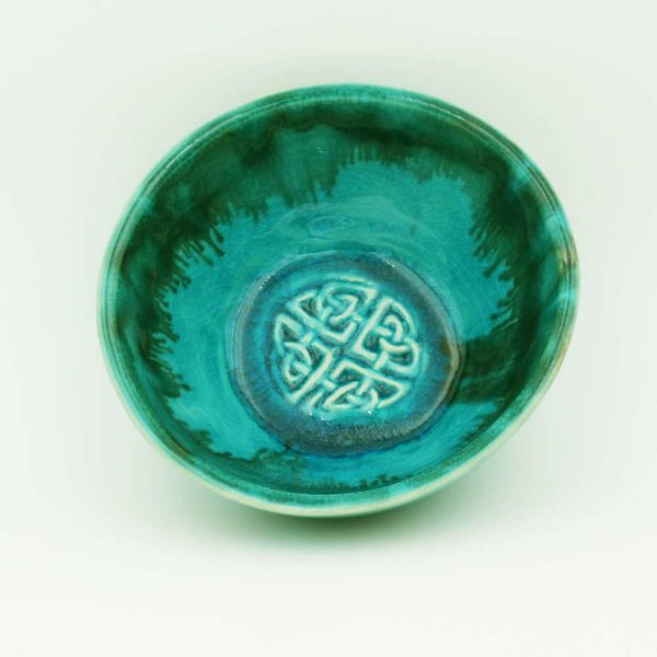 Celtic Shield Knot Pottery Bowl, turquoise colour, handmade in Ireland