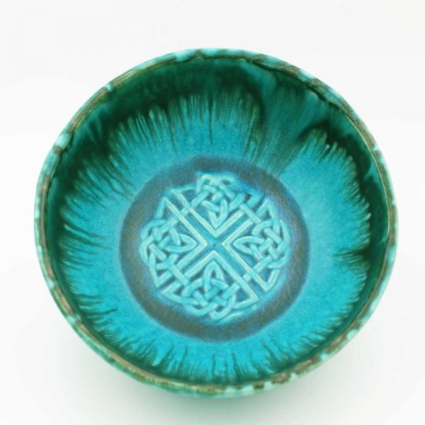 Celtic Pottery Bowl with Shield knot design, large size, turquoise, handmade in Ireland
