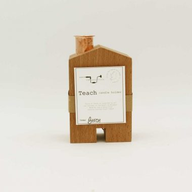 teach candle holder handcrafted from beech wood, small size, made in Ireland
