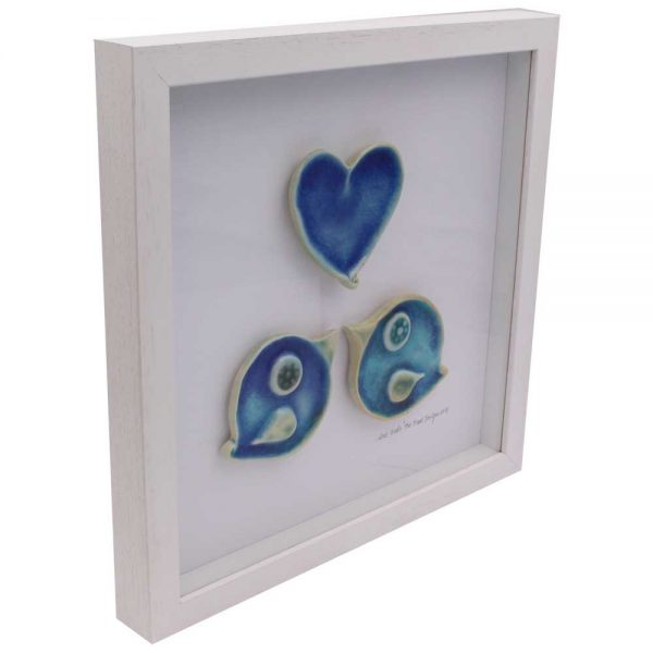 Love Birds, 2 ceramic birds and one ceramic heart in a lovely white frame. Made in Ireland
