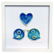 Love Birds, ceramic heart and two love birds in a white wooden frame, made in Ireland