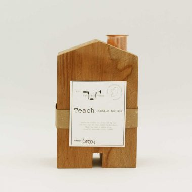 Candle Holder in the shape of a house, handcrafted from beech wood, made in Ireland
