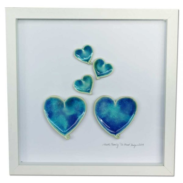 hearts family ceramic hearts in a white frame, designed and made in Ireland