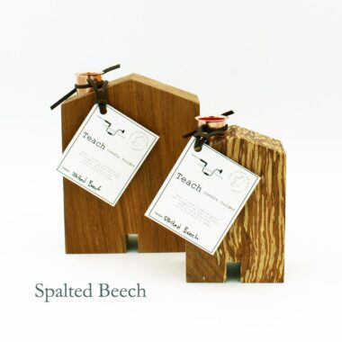 Teach wooden candle holders, made in Ireland from spalted beech wood and copper by Sam agus Nessa