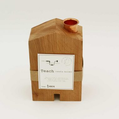 Teach candle holder, handcrafted from beech wood, made in Ireland