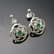 Celtic Knot Emerald Silver Earrings handmade in Ireland by Arnua