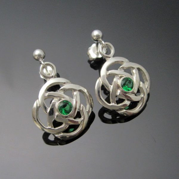 Celtic Knot Emerald Silver Earrings handmade in Ireland by Arnua