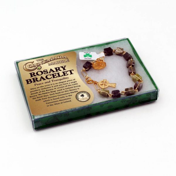 Connemara Marble Rosary Bracelet with gold-tone cross and holy medal