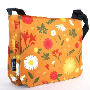 Large Messenger Bag Orange Daisy by Sallyann handbags, showerproof bag with denim lining, handmade in Ireland