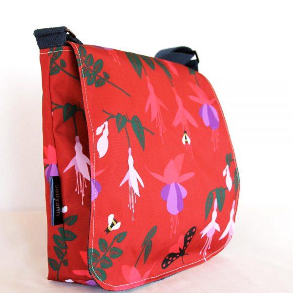Sallyann messenger bag red fuchsia, showerproof bag with denim lining, handmade in Irelnad