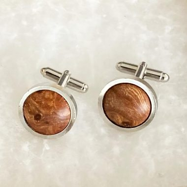 wooden cufflinks handmade in Ireland by Ambrose & Brid Woodturners