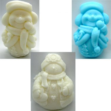 Beautiful snowman soap, handmade in Ireland from Donkey Milk, set of 3 soaps