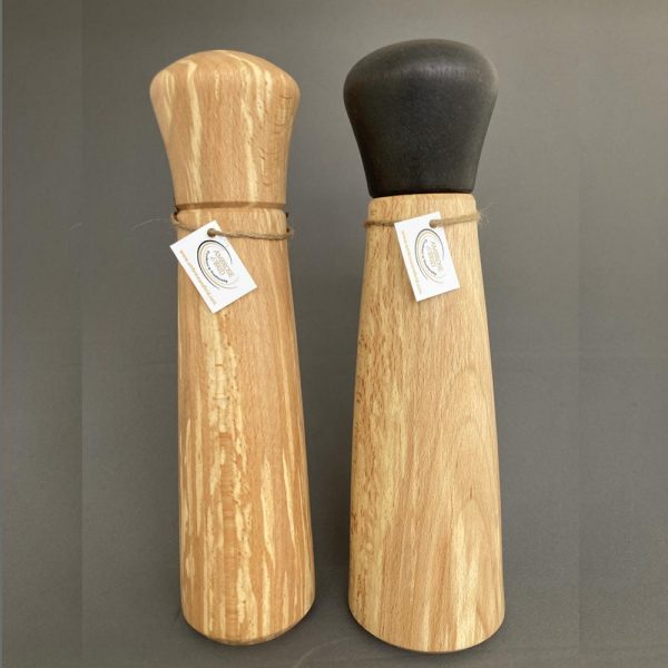 Wooden Salt and Pepper Mill Gift Set, hand-turned from Spalted Beech, made in Ireland