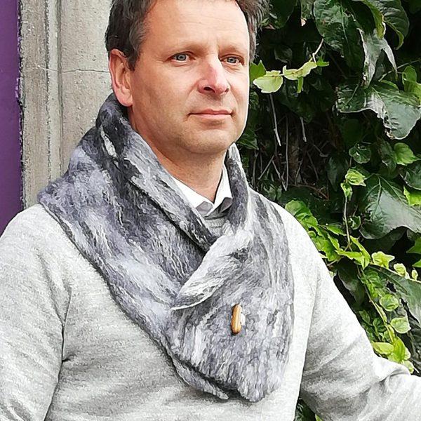 Mens collar scarf grey merino wool, handmade in Ireland, gifts for men