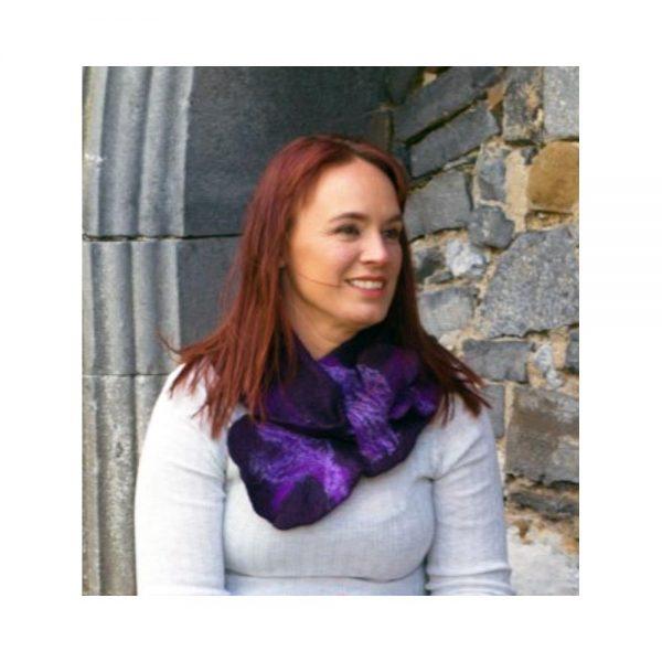 Deep Plum Felt Silk Collar Scarf, made in Ireland, gifts for women