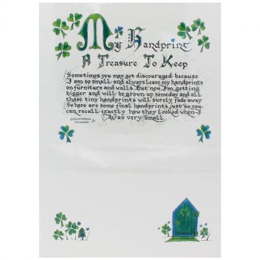 My handprint to treasure print with shamrocks and fairy door, made in Ireland