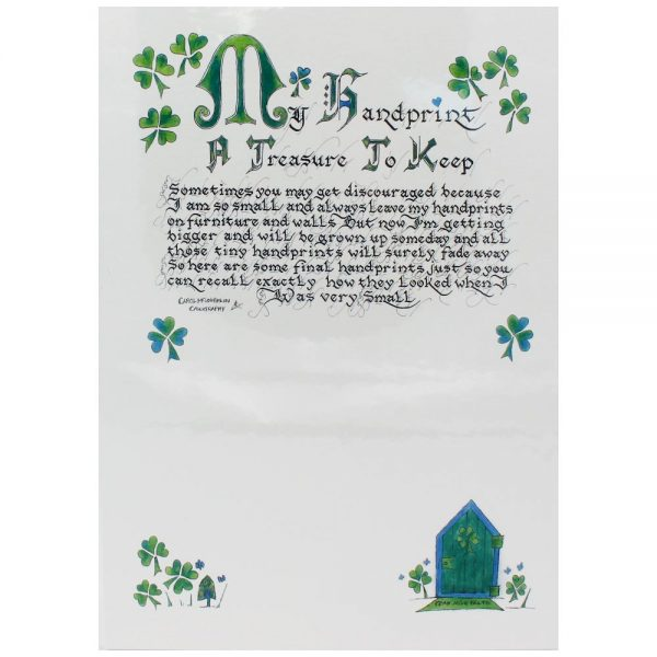 My handprint to treasure print with shamrocks and fairy door, made in Ireland