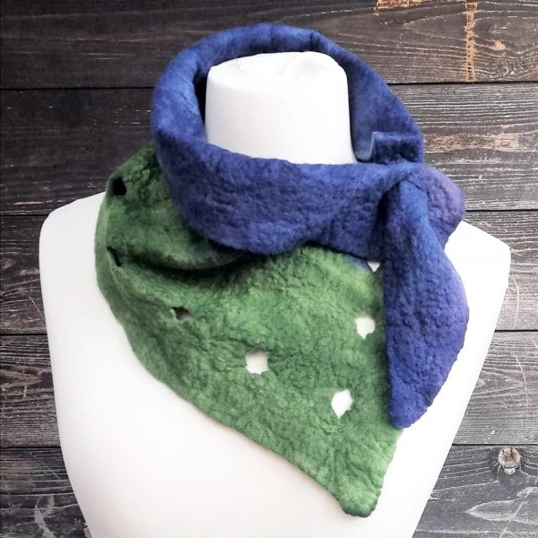 hand dyed neckerchief blue and green felted scarf gifts for women, handmade in Ireland